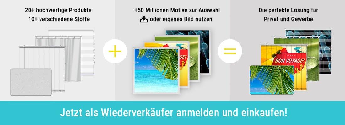 Banner mit Informationen zu bedruckten Sonnenschutzprodukten