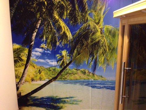 Foto Flächenvorhang mit Sonne , Strand , Palmen und Meer