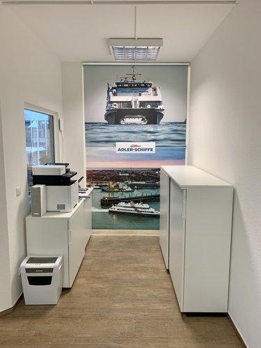 Fotorollo bedruckt / individuell nach Kundenwunsch - eigenes Motiv  Schiff als Werbung